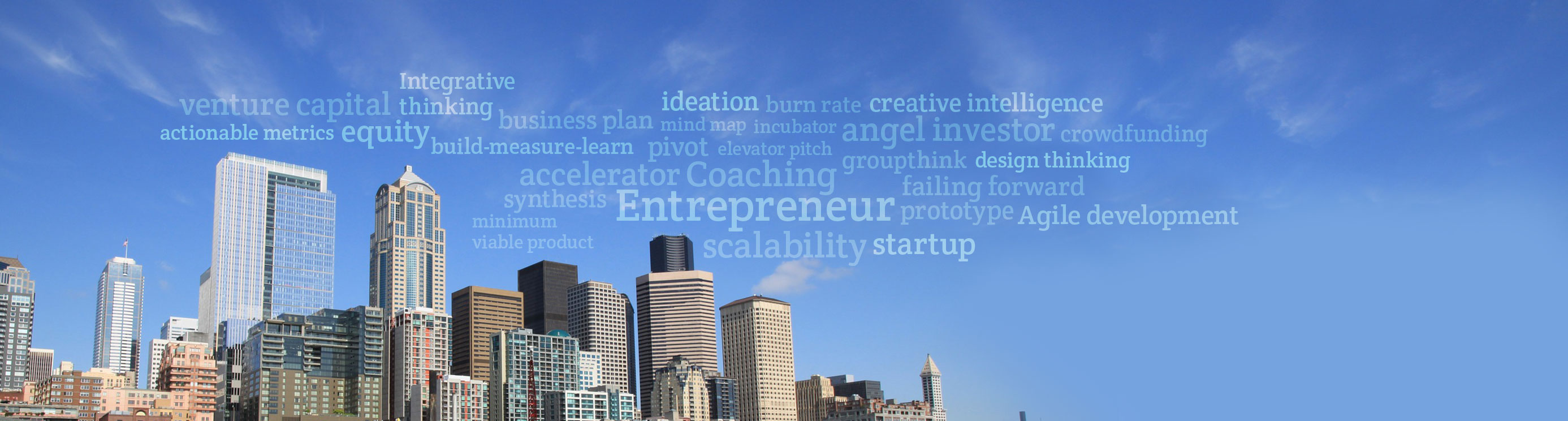 Accelement Seattle Cityscape with Entrepreneur and Startup Glossary