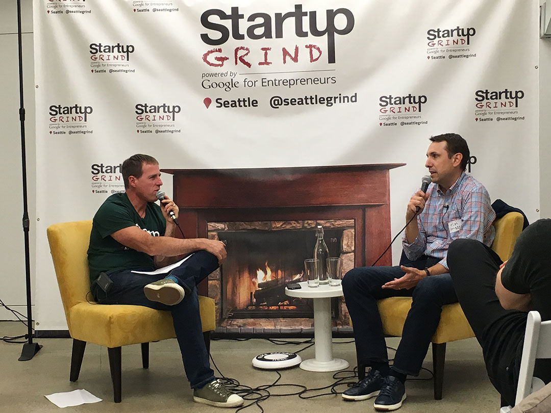 Mike Grabham, Startup Grind, interviewing Tim Porter, Madrona Venture Group